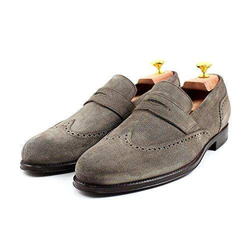 Giorgio Rea Zapatos Para Hombre Gris Elegante Hombre Zapatos Hecho A Mano EN Italia Cuero Real Brogue Oxfords Richelieu Mocasines Gris