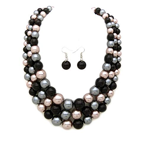 Women's Simulated Faux Three Multi-Strand Pearl Statement Necklace and Earrings Set (Black Mix -