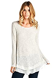 12 Ami Solid Long Knit Chiffon Hem Tunic Top White Grey L