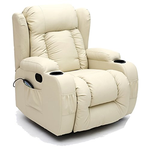 More4Homes CAESAR 10 IN 1 WINGED RECLINER CHAIR ROCKING MASSAGE SWIVEL HEATED GAMING BONDED LEATHER ARMCHAIR (Cream)