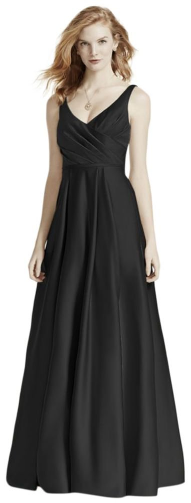 David's Bridal Satin Tank Long Ball Gown Bridesmaid Dress Style F15741, Black, 12