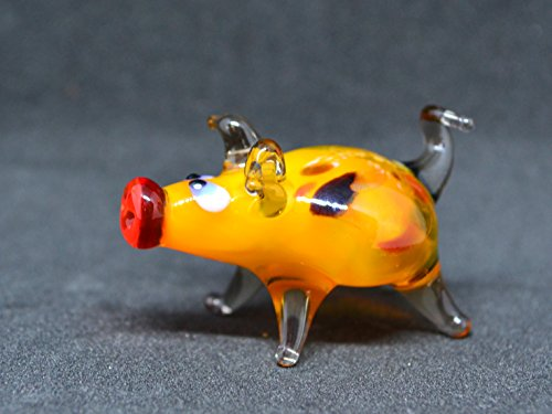 Orange glass pig figurine animals glass Peppa pig miniature art glass pigs toy murano piggy animals pig figure glass gifts pigs sculptures Christmas (Murano Glass Pig Figurine)