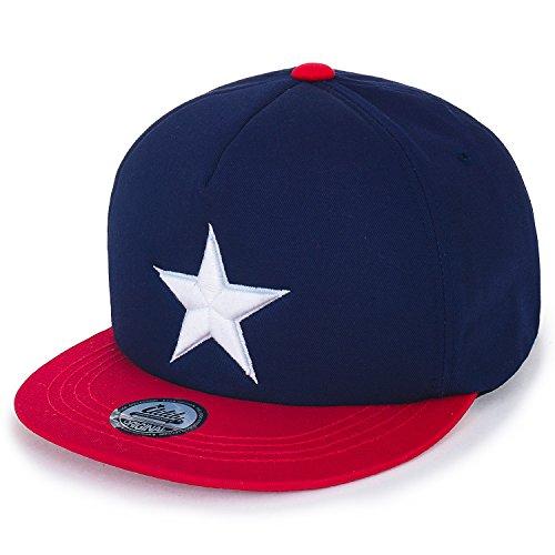 ililily Star Embroidery Black White Trucker Hat Cotton Baseball Cap Navy Flat