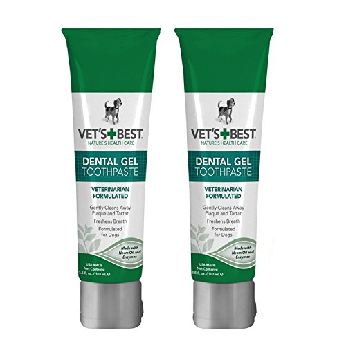 Dog Dental Care Gel Toothpaste Plaque and Tartar Fighter from Vet's Best Pack of 2 Total 7 ounce Made in USA by Vet's Best