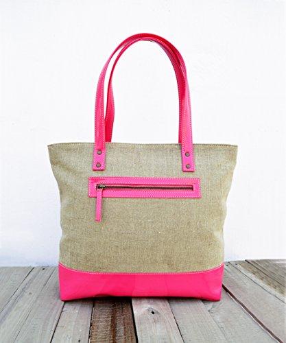 Lino e finta pelle, borsa, naturale con fucsia, Classic Everyday bag.