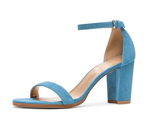 Blocco Donna Sandali Tacco Cinturino A scarpe Blue Edefs Caviglia Aperta Punta wR8gIdgnqz