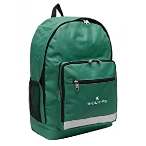 K-Cliffs Green Polyester School Backpack/ Outdoor Backpack/ Hiking Backpack with Reflective Strip