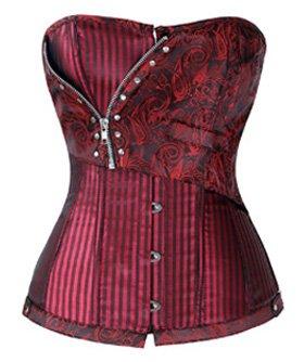 Charmian Women's Steampunk Retro Brocade Victorian Stripe Boned Bustier Corset 4
