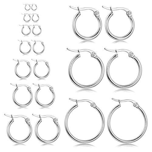 (Stainless Steel Gold Hoop Earring Women 10 Pairs Silver Fashion Girls Earrings Cute Hypoallergenic Earring Jewelry Set)