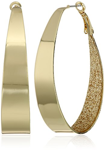 Guess Large Oval Glitter Gold Hoop Earrings (Earrings Gold Hoop Women)