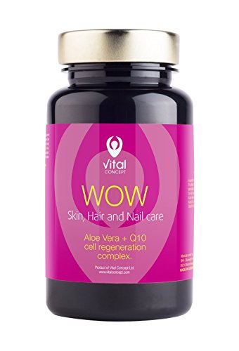 WOW - Skin, Hair and Nail care pill. Aloe Vera + Q10 cell regeneration complex tablets. Powerful antioxidant effect. 60 Veggie Caps, GMO and gluten (Aloe Vera Caps)