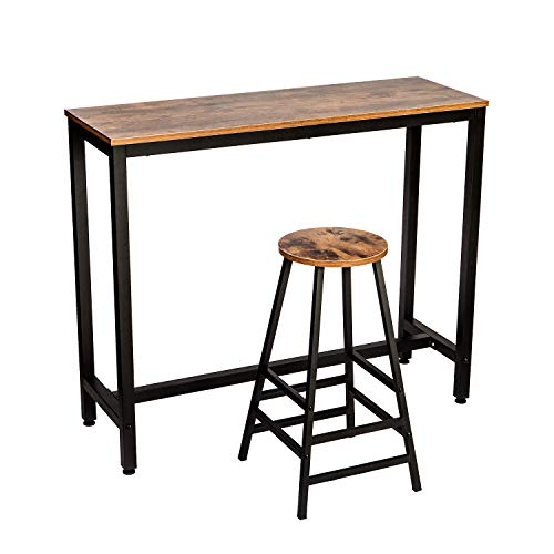 IRONCK 2-Piece Pub Bar Table Set, 47.2''Dining High Top Table Set, Industrial Kitchen Bar Table and Chairs Set, Vintage Brown