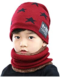 2Pcs Kids Winter Knitted Hats+Scarf Set Warm Fleece...