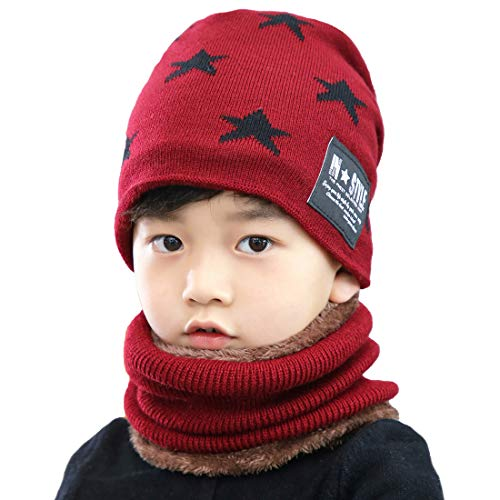 Adorel Big Boys Beanie Hat and Neck Scarf Set Fleece Lined Winter