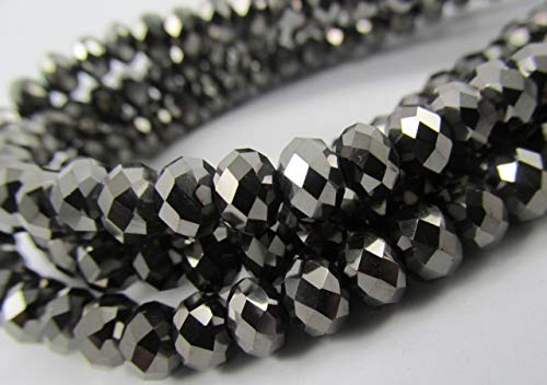 BeadsOne 10mm - 72 pcs - Glass Rondelle Faceted Beads Black Nickel Metallic for jewerly making findings handmade jewerly briolette loose beads spacer donut faceted Top Quality 5040 (C36) ()
