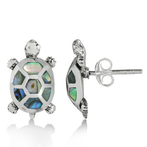 Silvershake Abalone Paua Shell Inlay 925 Sterling Silver Turtle Post Earrings (Paua Shell Inlay)