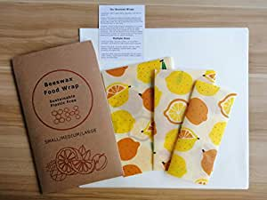 Set of 3 Beeswax Food Wraps