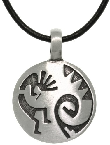 Jewelry Trends Kokopelli South Western Pewter Pendant Necklace Black Leather Cord 18