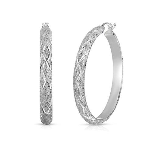 - Sterling Silver Half-round Tube Laser-cut Finish X-pattern Diamond-cut Round Hoop Earrings, 1.4