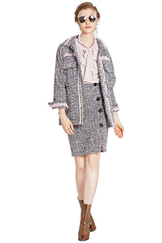YIGELILA Plaid Tweeds Jacket Fashion Turn-down Collar Single Breasted Warm Coat by YIGELILA