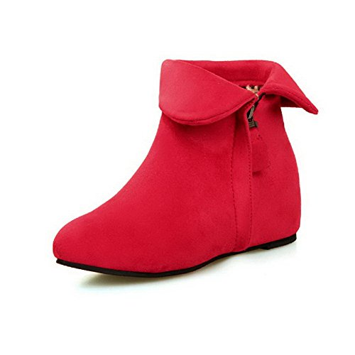 Zipper high Toe Red Allhqfashion Boots Ankle Women's Frosted Round Closed Heels Kitten wCXEzqX7
