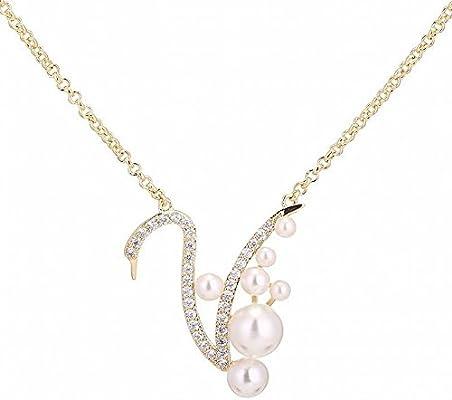 41956efe3812 MingXinJia Cadena Fina de Cobre del Cisne de la Perla Collar Plateado Oro  de la Cadena Corta