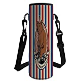 iPrint Water Bottle Sleeve Neoprene Bottle Cover,Bear,Circus Bear on Bicycle Carnival Theme Cute Mascot Hat on Striped Backdrop Decorative,Ruby Blue Brown,Great Stainless Steel Plastic/Glass Bot