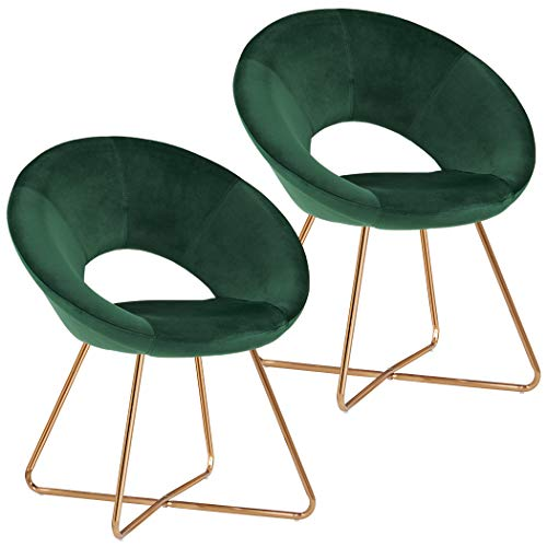 Teal Modern Accent Chair Set of 2,Home Office Reception Chair Mid-Century Leisure Upholstered Chairs Velvet Cushion for Living Room Easy Assembly