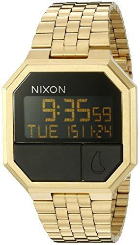 Nixon Re-Run A158502-00. Men's Digital Gold Watch (38.5mm Digital Watch Face. 13-18mm All Gold Band) by NIXON
