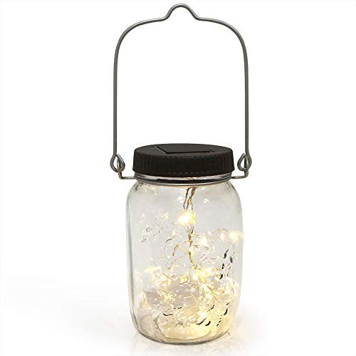 Solar Mason Jar Firefly Light. Outdoor Waterproof LED Blinking Solar Charged Light. Bug Jar Perfect for Hanging or Tabletop. Blinks to Simulate Fireflies!