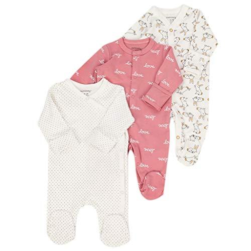 JiAmy 3-Pack Baby Footed Sleepsuits Lange mouw Romper Katoen Slaap en Play Baby Pyjama voor Jongens Meisjes