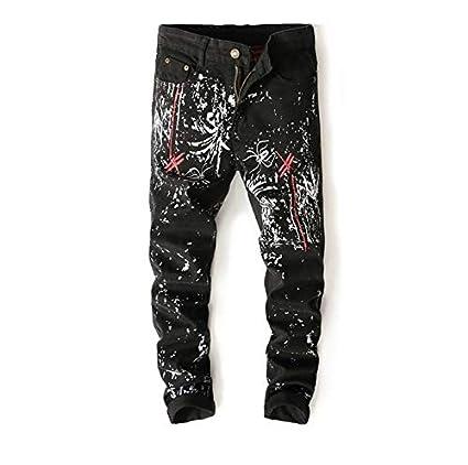 SFSF Jeans Estampados para Hombre Cintura Media Pantalon ...