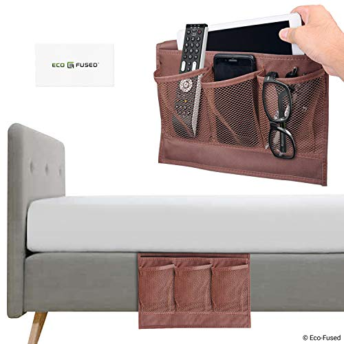 Bed Side Pocket Organizer - Set of 2 - Chocolate Brown - This Storage Caddy Keeps Things Within Reach of Your Sofa / Bed - For Example: Remote Control, Phone, ()