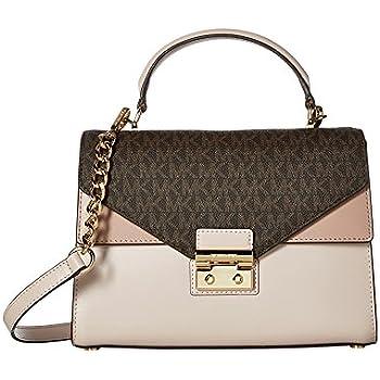 2e48b9f477cb Michael Kors Sloan Medium Leather and Logo Satchel- Brown Soft Pink