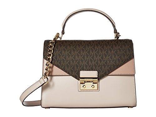 Michael Kors Sloan Medium Leather and Logo Satchel- Brown/Soft Pink