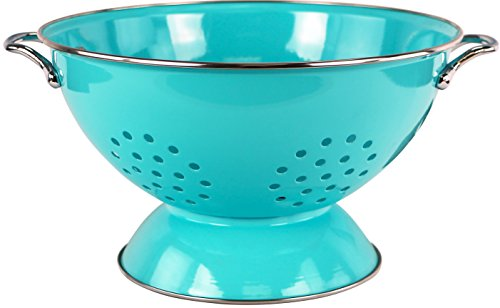 Powder Coated Colander - Calypso Basics by Reston Lloyd Powder Coated Enameled Colander, 5 Quart, Turquoise