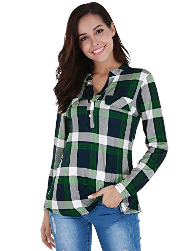 FISOUL Womens Button Down Shirts A Line Tunic Blouses Casual Plaid Tops