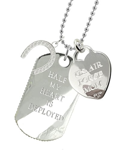 Solid Sterling Silver Air Force Mom Dog Tag HS by New York 925 & Co.