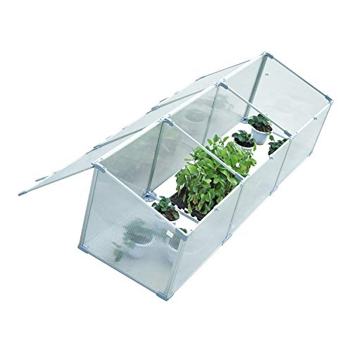Outsunny 71″ Aluminum Vented Cold Frame Mini Greenhouse Kit – Silver/Transparent