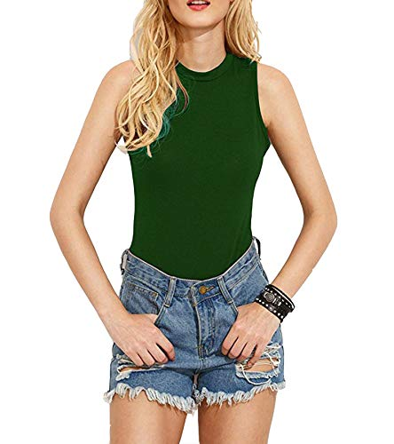 AOYOG Women's Bodysuit Tops Sleeveless Backless Halter Bodysuit Jumpsuit Stretchy Bodice Leotard Green]()