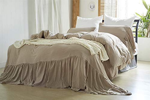 - LELVA Ruffled Duvet Cover with Pillow Shams 3 Piece Khaki Vintage Shabby Chic Comforter Cover Queen Size
