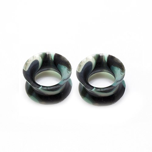 BodyJewelryOnline Pair of Thin Silicone Flexible Ear Plugs Camouflage Design - 2 Gauge to 12 mm (7/16