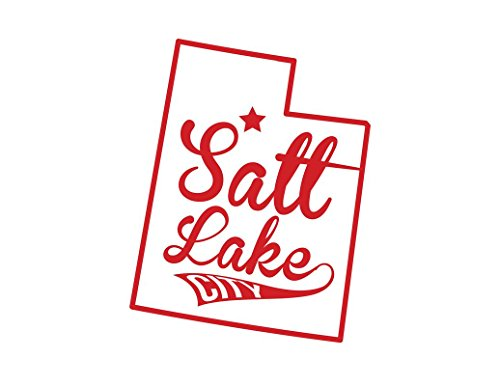 ND436R Salt Lake City Utah Decal Sticker | 5.5-Inches By 4.3-Inches | Premium Quality Red Vinyl ()