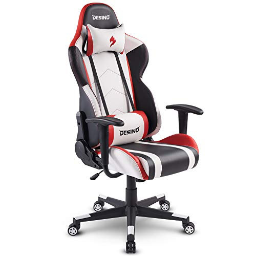 (DESINO Gaming Chair Racing Style Home & Office Ergonomic Swivel Rolling Computer Chair with Headrest and Adjustable Lumbar Support (White) )