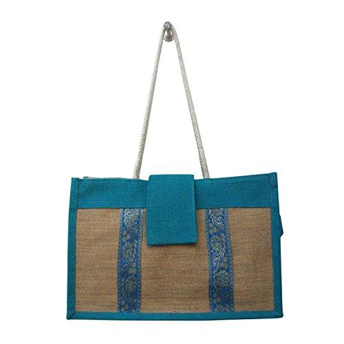 Indian Evening cum Hochschule Natürliche Jute-Tasche mit Baumwollschnur Handgriff