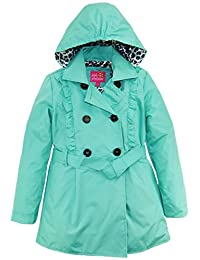 Pink Platinum Big Girls Ruffled Trench Jacket Coat with Animal Accents Lining, Seafoam, 10/12