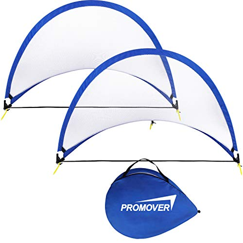 Pop Up Soccer Goal Set of 2 Portable Soccer Nets with Carry Bag - Size 4ft 5ft 6ft for School Teams Backyards & Training (4 FT)