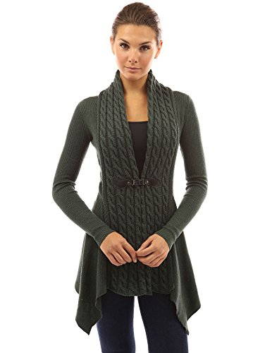 (PattyBoutik Women Buckle Braid Front Cardigan (Dark Green Medium))