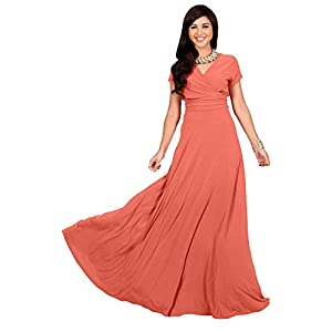 d9369ccec64 KOH KOH Plus Size Womens Long Cap Short Sleeve V-Neck Flowy Cocktail  Slimming Summer Sexy Casual Formal Sun Sundress Work Cute Gown Gowns Maxi Dress  Dresses ...