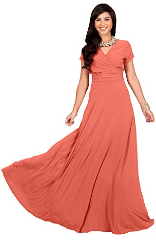 Peach Cocktail - KOH KOH Womens Long Cap Short Sleeve V-Neck Flowy Cocktail Slimming Summer Sexy Casual Formal Sun Sundress Work Cute Gown Gowns Maxi Dress Dresses, Light Pink Peach L 12-14